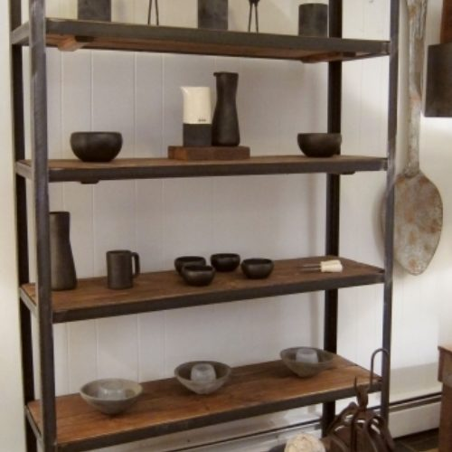 6 Tier Shelving Unit with Steel Frame and reclaimed pine