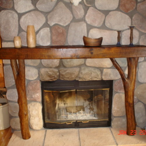 Antique Heart Pine Mantle with Reclaimed American Elm Supports