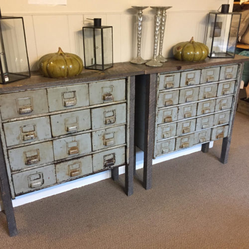 Antique Storage Console with Reclaimed Wood Frame