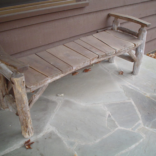 Backless Bench in Ancient Locust and Weathered Osage Orange