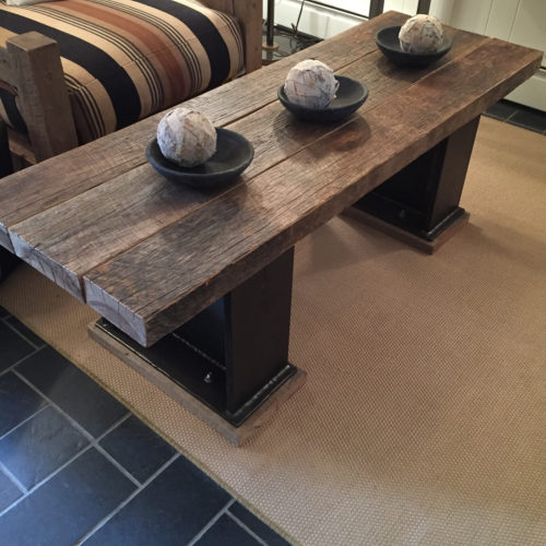 Coffee Table in Antique Hickory with Steel I-Beam Base