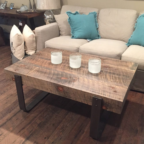 Coffee Table made from Reclaimed Pine Beams with Steel Legs