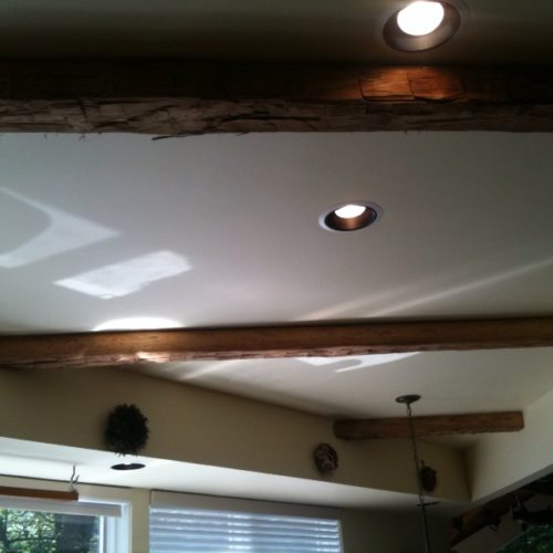 Beams in Antique Hand Hewn White Oak