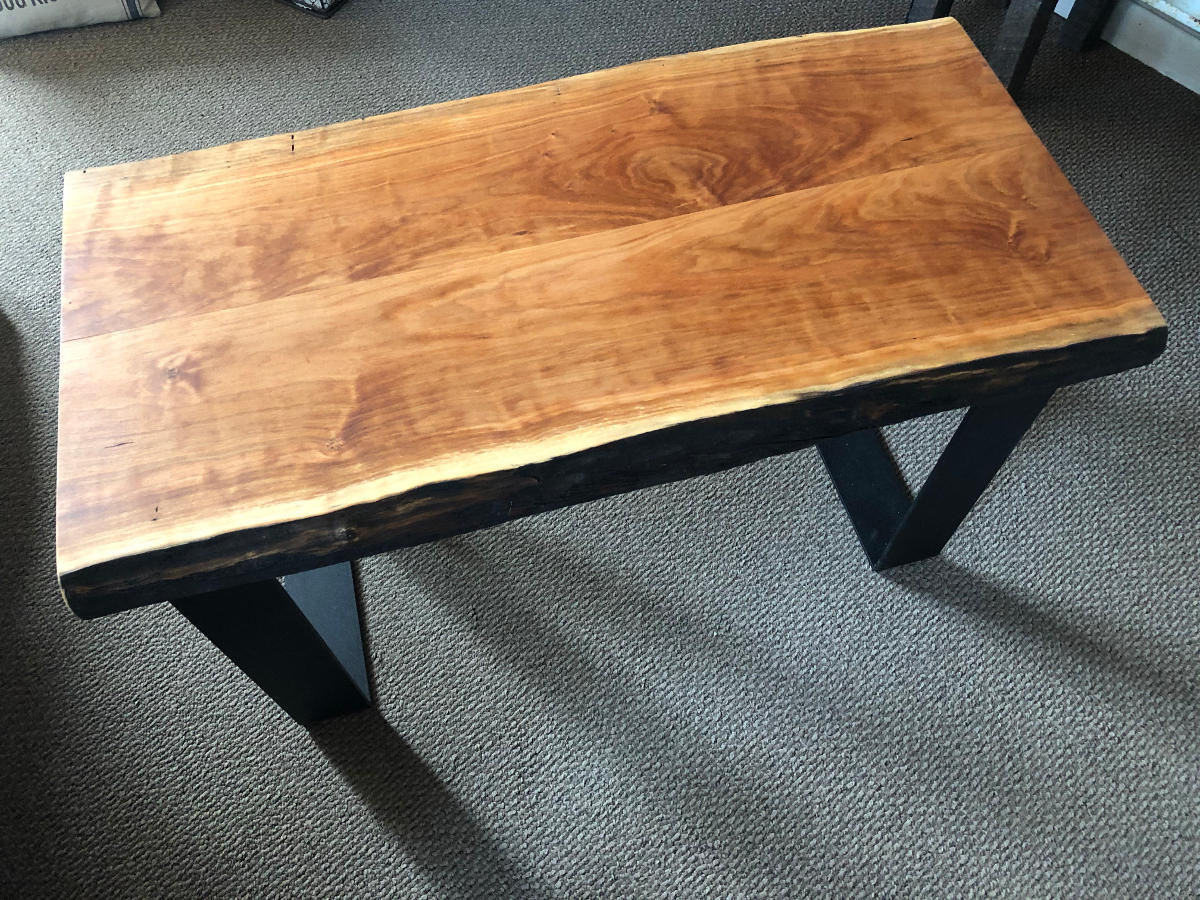 BenchSide Table With Natural Edge Cherry Top And Steel Hearthwoods - Natural cherry side table