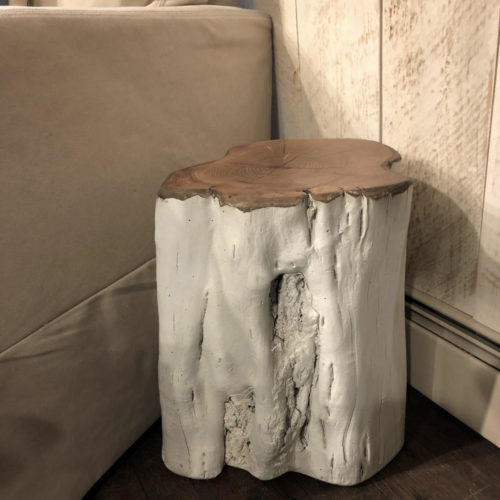 Black Locust Side Table Natural Form Painted White