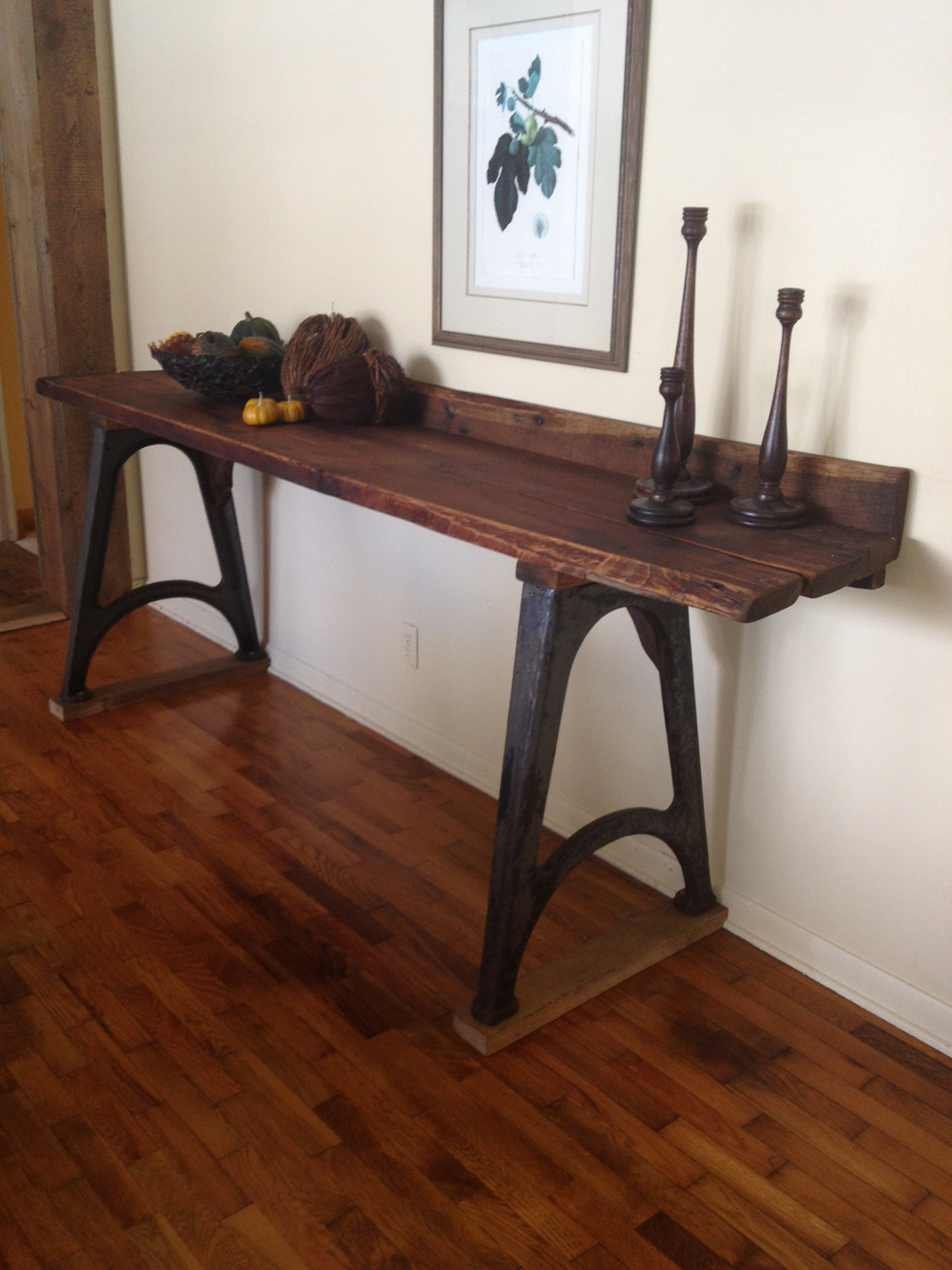 Bon Console Table With Reclaimed Wood Slabs And Vintage Industrial Cast Iron  Base