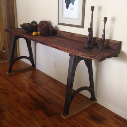 Console Table with Reclaimed Wood Slabs and Vintage Industrial Cast Iron Base