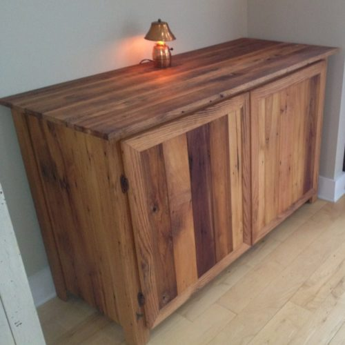 Buffet Cabinet made from Antique Reclaimed Hardwood Barn Rafters