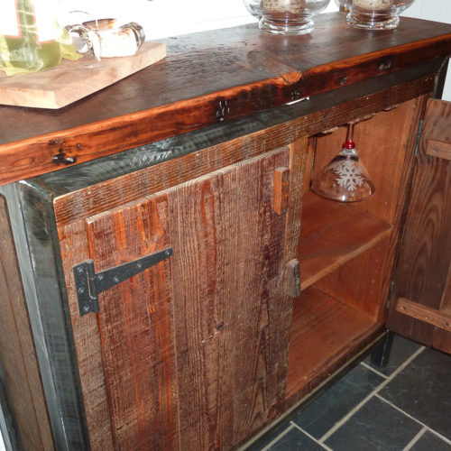 Wine Bar in Antique Reclaimed Heart Pine and Barn Wood with Steel Frame