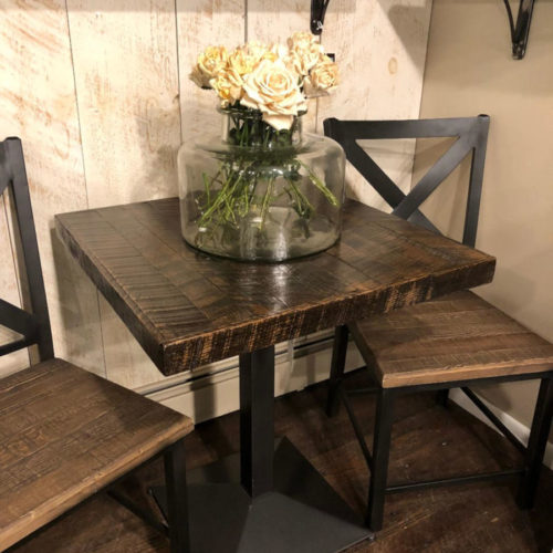 Cafe Table with Reclaimed Pine Top and Steel Pedestal Base