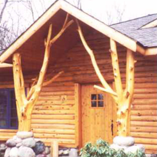 Peeled Cedar Entry Posts