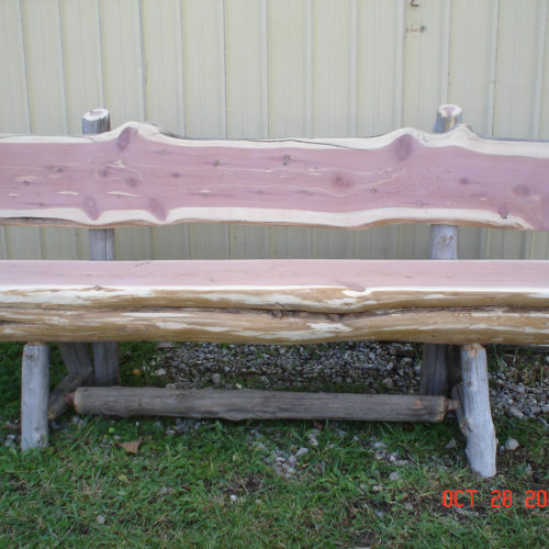Cedar Log Outdoor Bench