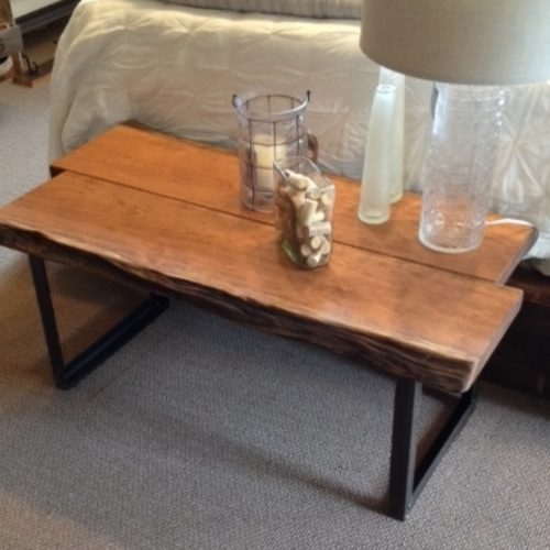 Cherry Slab Coffee Table with Steel Base