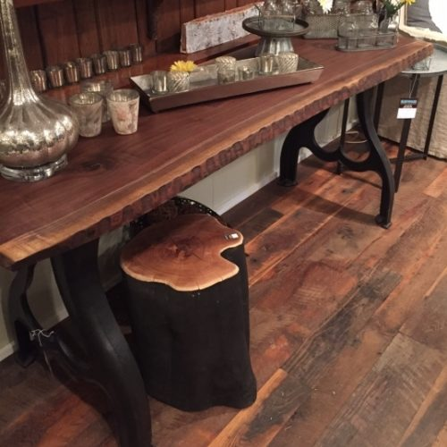 Chiseled Edge Walnut Console Table with Industrial Base