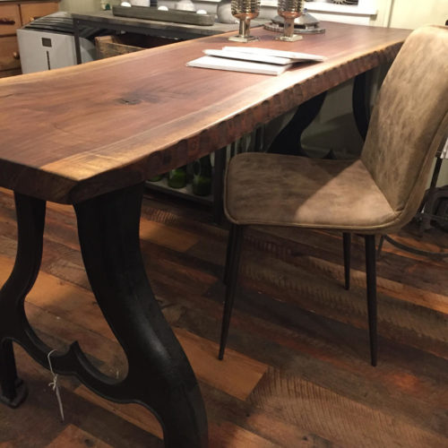 Chiseled Edge Walnut Desk/Console Table with Industrial Base