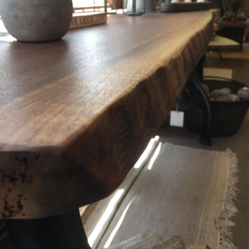 Chiseled Edge Walnut Slab Console Table with Cast Iron Base