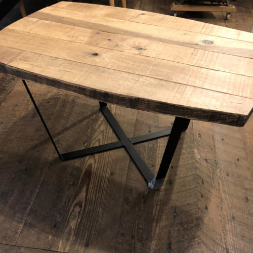 Coffee/ Side Table in Antique Oak with Metal Base