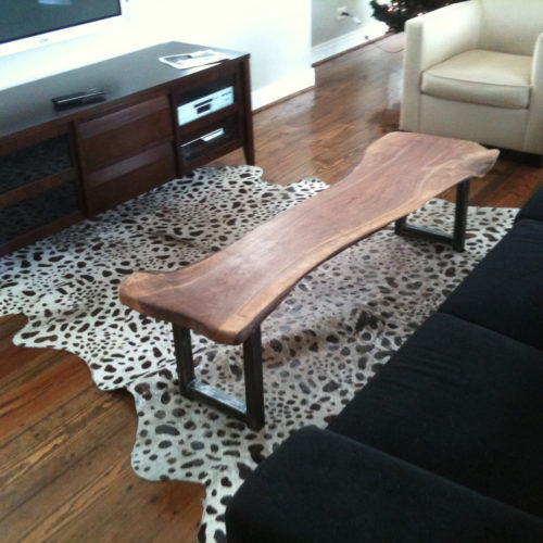 Coffee Table in Black Walnut with Steel Base