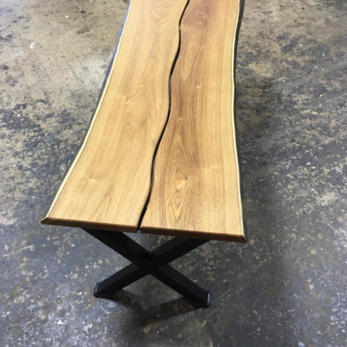 Coffee Table/Bench in Black Locust with Steel Base
