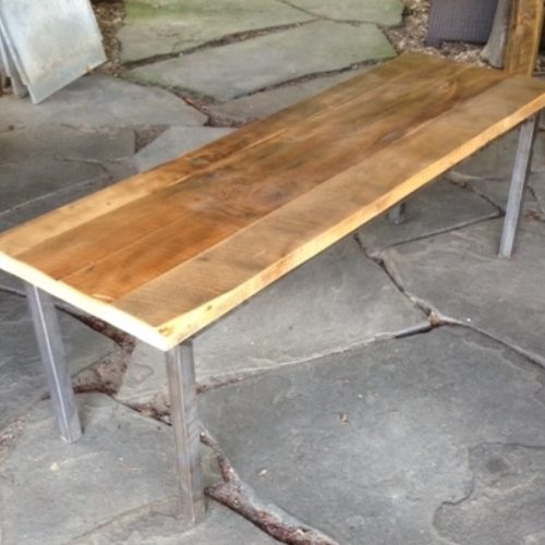 Coffee Table/Bench with Steel Base and Reclaimed Maple