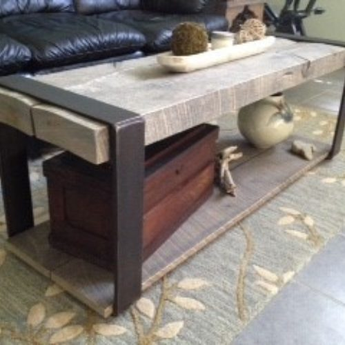 Coffee Table in Reclaimed Rough Sawn Oak with Steel Banding