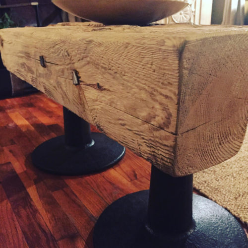 Coffee Table made from Reclaimed Lake Michigan Shipwreck and Vintage Industrial Bases