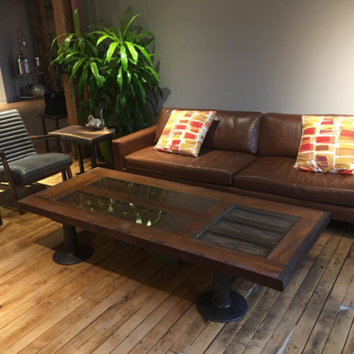 Coffee Table made from Reclaimed Vintage Door with Vintage Industrial Cast Iron Legs