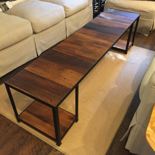 Coffee Table with Antique Reclaimed Pine and Steel Frame