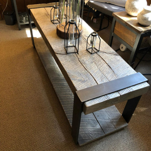 Coffee Table with Reclaimed Solid Oak Slabs and Steel Stretchers