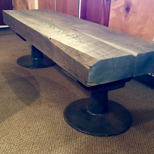Coffee Table with Weather White Pine Top and Vintage Cast Iron Base