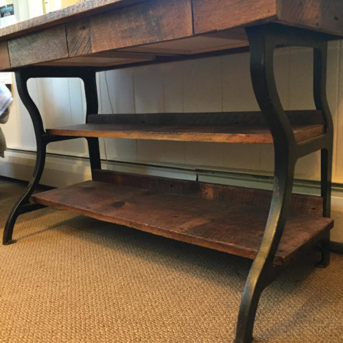 Console Hallway Table in Reclaimed Weathered White Pine and Vintage Cast Iron Base