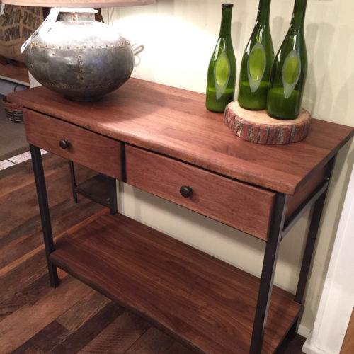 Console / Hallway Table with Drawers in Cherry with Steel Frame