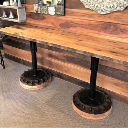 Console in Reclaimed Oak with Vintage Cog Base