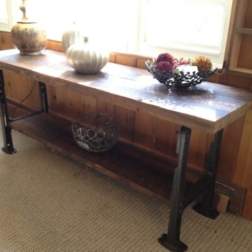 Console Table in Reclaimed Oak with Vintage Industrial Base