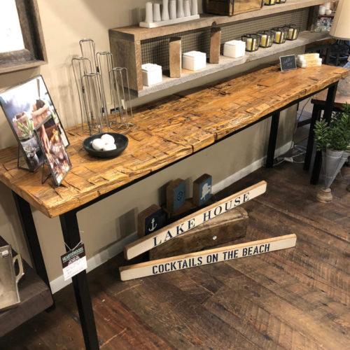 Console Table made from Reclaimed Antique Hand Hewn Hickory Beams. Tubular Steel Legs
