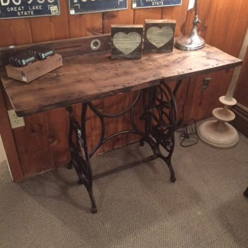 Console Table made with Reclaimed Featherbone Factory Wood and Vintage Sewing Table Base