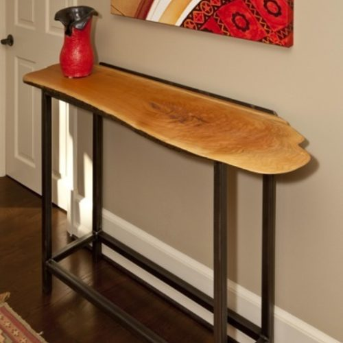 Console Table with Cherry Slab and Tubular Steel Base