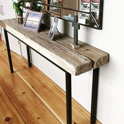 Console Table with Lake Michigan Shipwreck Wood and Tubular Steel Base