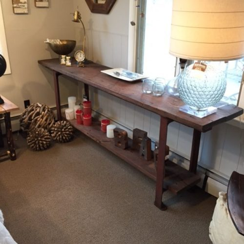 Console Table with Reclaimed Oak Planks and Vintage Cast Iron Base
