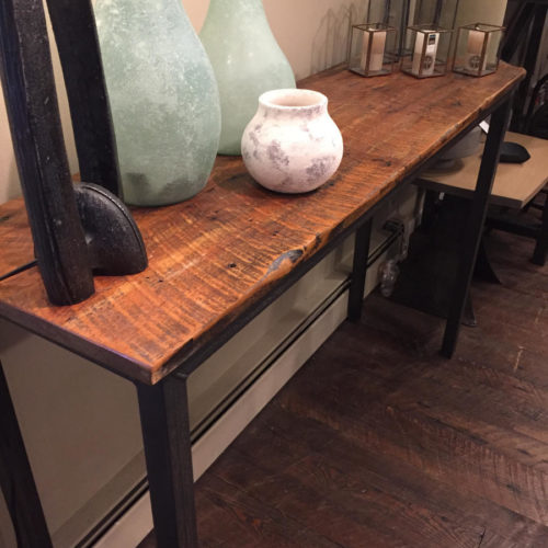 Console Table with Reclaimed Wood Top and Tubular Steel Base
