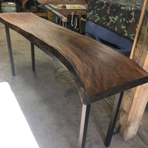 Console with Live Edge Walnut Top and Steel Base