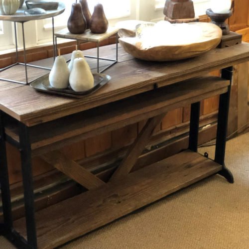 Console with Vintage Base and Reclaimed Pine