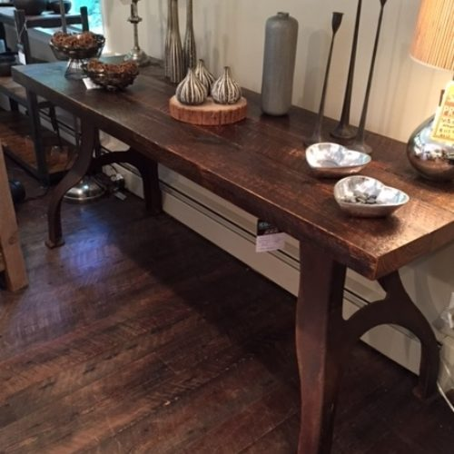 Console Table with Weathered White Pine Top and Vintage Industrial Lathe Base
