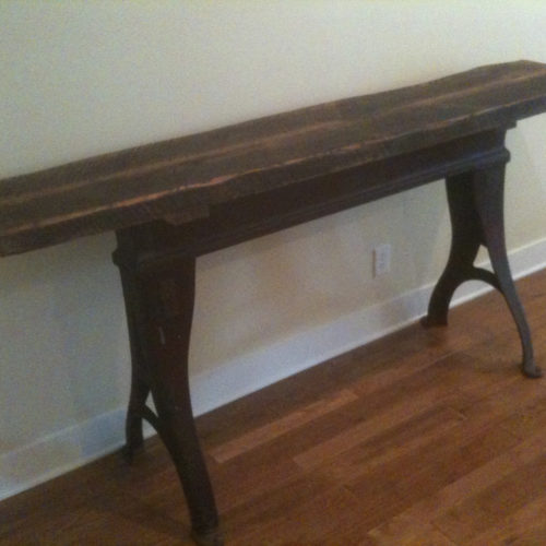Console Table in Antique Reclaimed Oak with Vintage Industrial Base