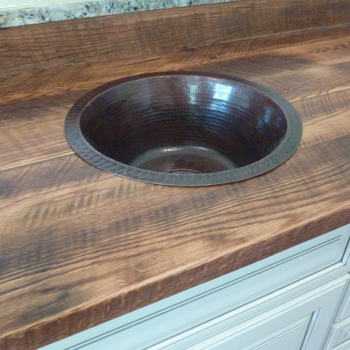 Counter Top made from Reclaimed Red Oak Rafters