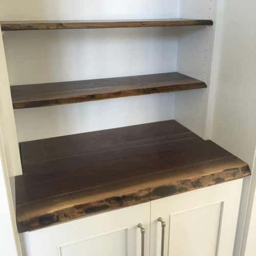 Natural Edge Walnut Counter and Shelves