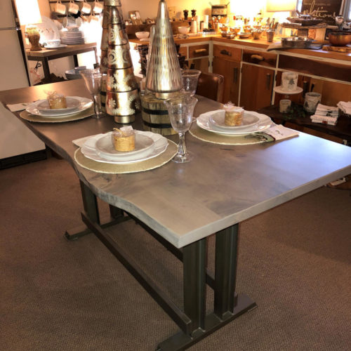 Counter Height Dining Table in Maple with Smokey Gray Finish and Tubular Steel Base