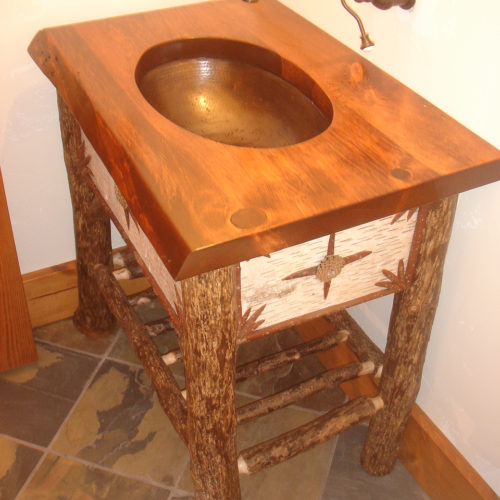 Antique Reclaimed Pine Sink Counter with Birch Veneer and Hickory Base