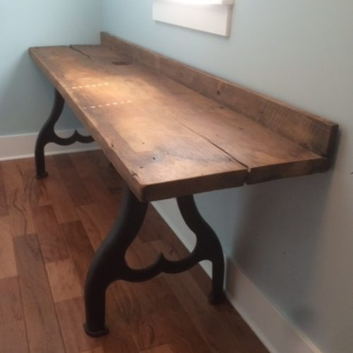 Desk with Antique Reclaimed Maple and Industrial Cast Iron Base