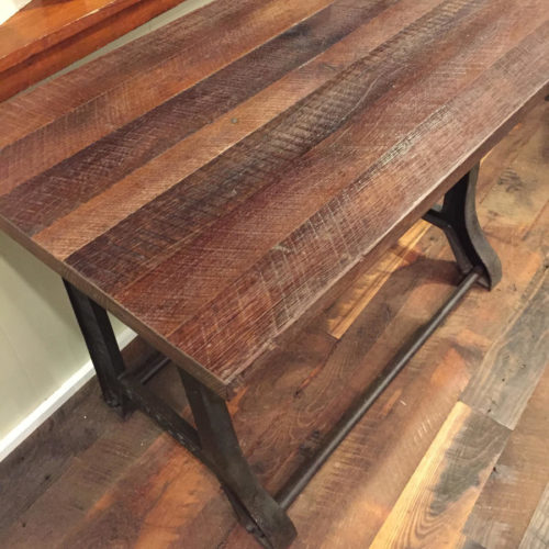 Desk with Vintage Cast Iron Base and Reclaimed Rough Sawn Wood Top